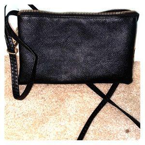 black leather shoulder bag
